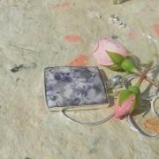 Tiffany sten 38x29mm ramberlock med kedja