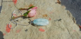 Dominikansk Larimar sten  37x20mm, ramberlock med kedja
