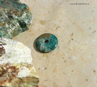 Krysokolla donut/amulettsten 40 mm