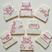 Bröllopstårto, rosa kakor