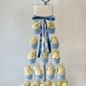 Bröllopscupcakes blå fyrkantig