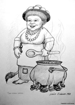 Den allra första teckningen av troll-gumman med torggumman som utgångsläge.