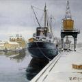 Norrköpings hamn, vintern 1953