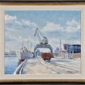 Norrköpings hamn_olja_1958_Bild från Actionet, efter tips från säljaren. Tack!