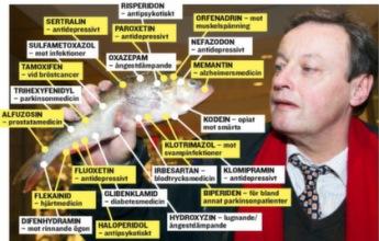 23 mediciner hittade i abborre vid reningsverk i Uppsala. Expressens Tom Schönstedt håller i ett helt apotek.