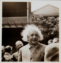 1941, photograph by Trudi Dallos  -  Einstein during visit of American Continental Club, Princeton.