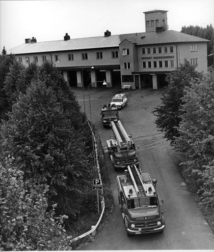Lundby Brandstation med tillbyggnaden i början av 1970-talet