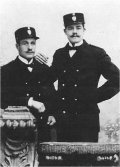 Sven August Thornblad och Rydén (förnamn okänt) ca 1904
