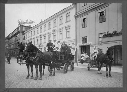 Vid brandstationen i Stadshuset vid Gustav Adolfs Torg i Göteborg år 1915