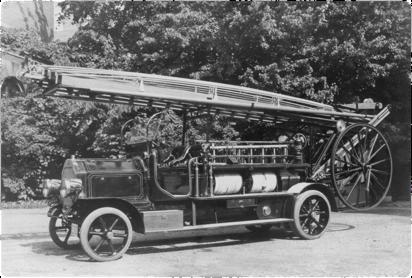 Den första brandautomobilen, en Scania Vabis