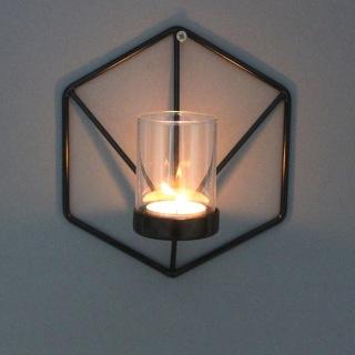 310S 6kant väggljusstake svartmålad smide 16x16 CM