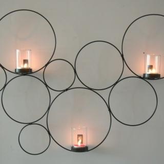 1832S Vägglykta cirkel svartmålad smide m 3 glas