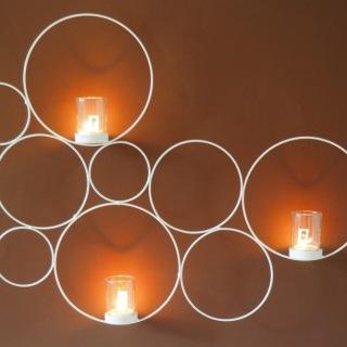 1832V Vägglykta cirkel vitmålad smide m 3 glas