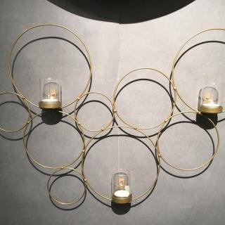 1832M Vägglykta cirkel mässingmålad smide m 3 glas