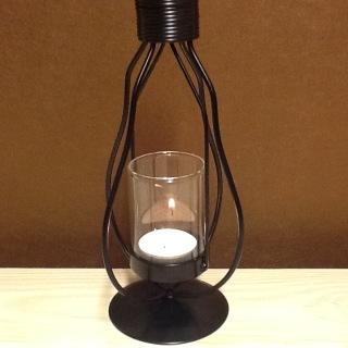 322S Bordslykta svartmålad smide med glas 12 cm