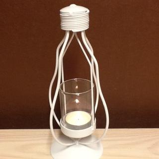 322V Bordslykta vitmålad smide med glas 12 cm