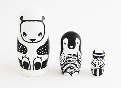 Wee Gallery Set of 3 Nesting Dolls (Panda) - Wee Gallery Set of 3 Nesting Dolls (Panda)