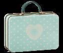 Maileg Metal Suitcase Cream Mint Dots - Maileg Metal Suitcase Cream Mint Dots