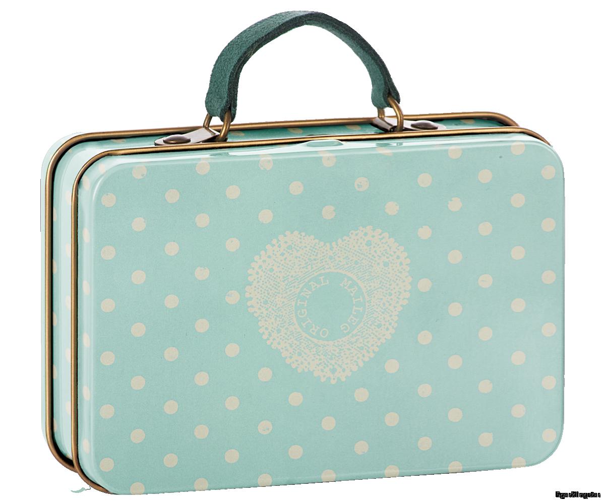 Maileg Metal Suitcase Cream Mint Dots