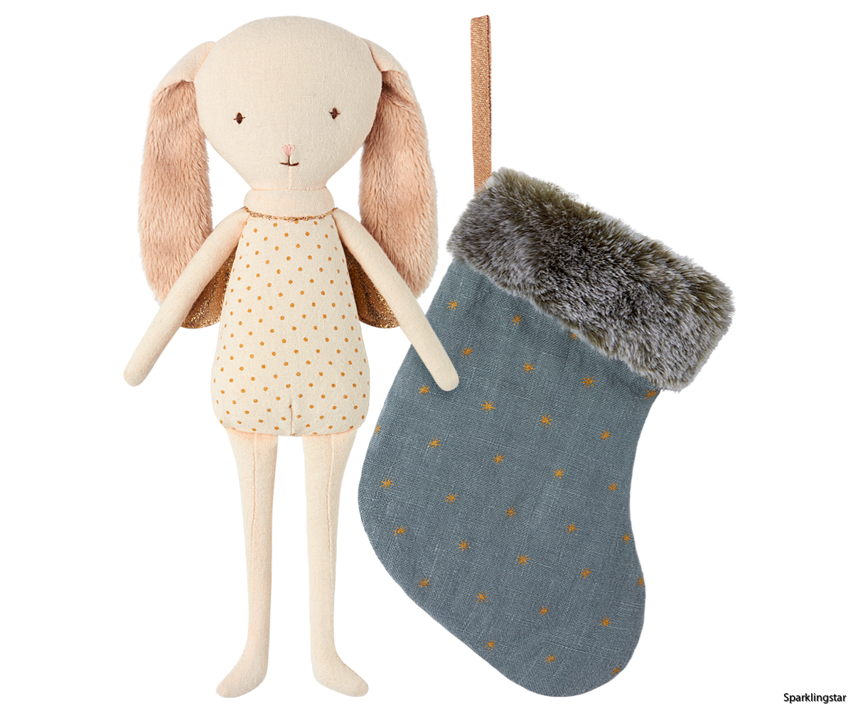 Maileg Bunny Angel In Stocking Blue