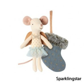Maileg Mouse Angel With Stocking ( Blue )