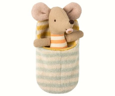 Maileg Baby Mouse In Sleeping Bag - Maileg Baby Mouse In Sleeping Bag