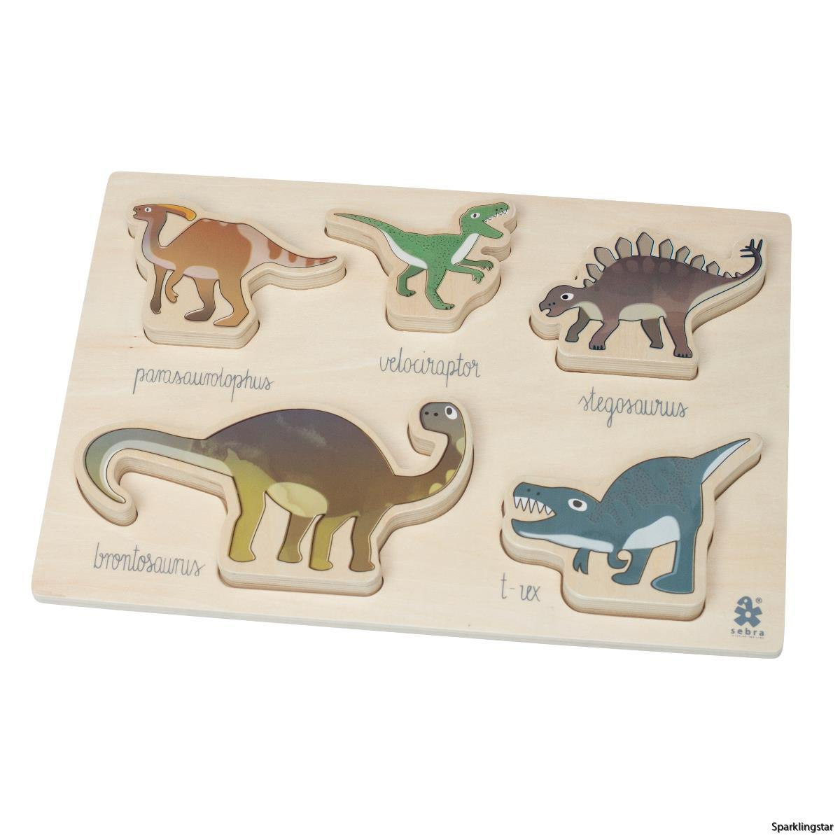 Sebra Wooden Chunky Puzzle Dino