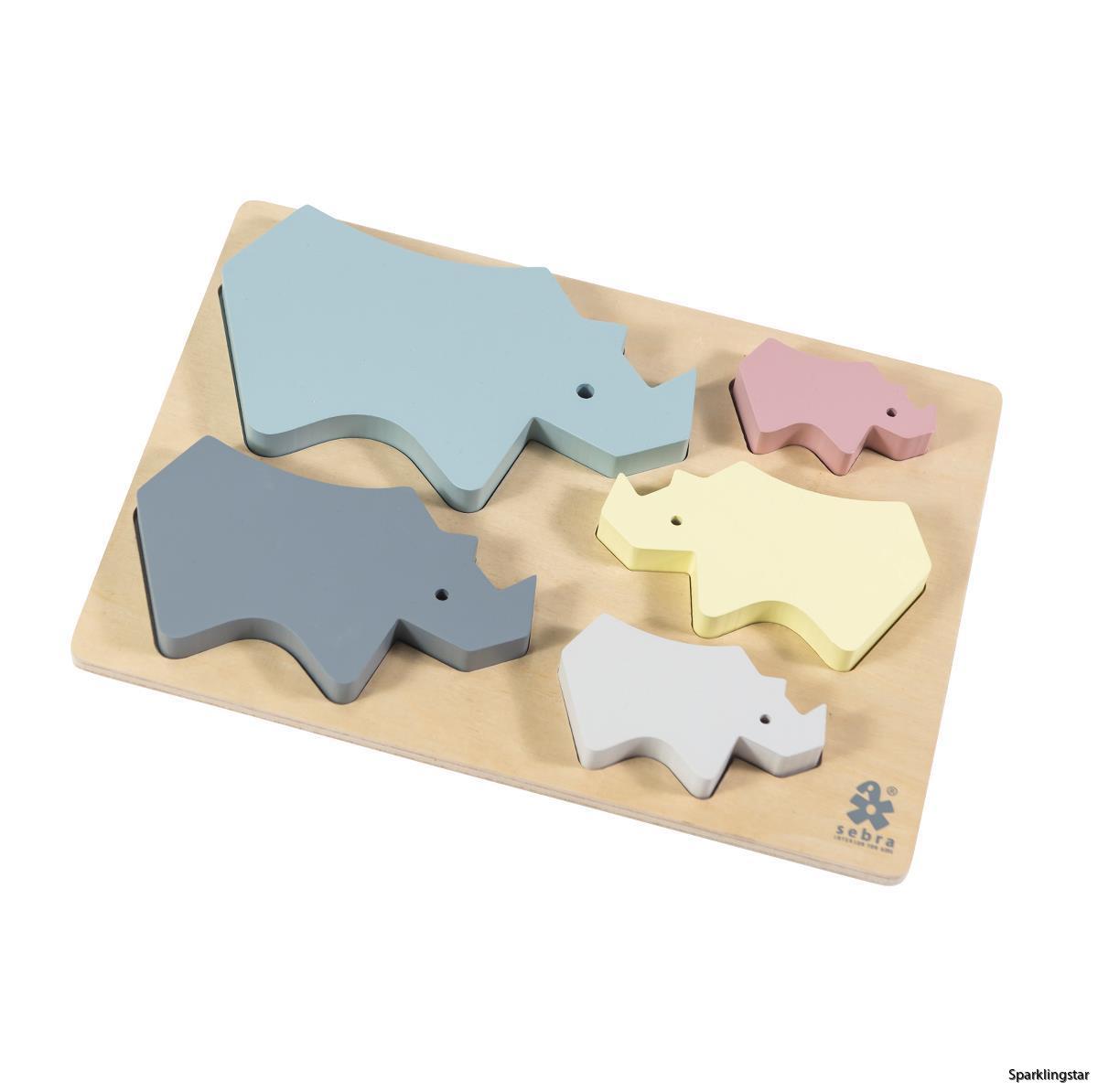 Sebra Wooden Chunky Puzzle Rhino