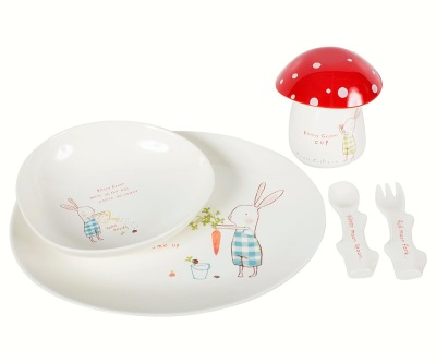 Maileg Bunny Green Melamine Set 6 Parts - Maileg Bunny Green Melamine Set 6 Parts