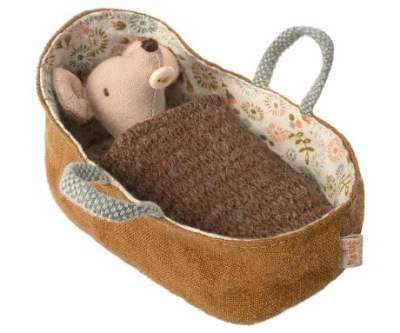 Maileg Baby Mouse In Carrycot - Maileg Baby Mouse In Carrycot