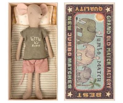 Maileg Medium Mouse In Box Boy - Maileg Medium Mouse In Box Boy