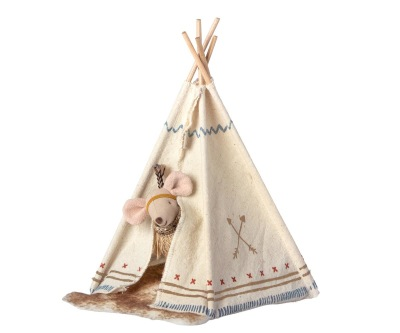 Maileg Little Feather Tent Little Sister Mouse - Maileg Little Feather Tent Little Sister Mouse