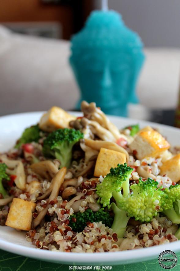 Quinoa Salad with Fried Tofu and Shimeji