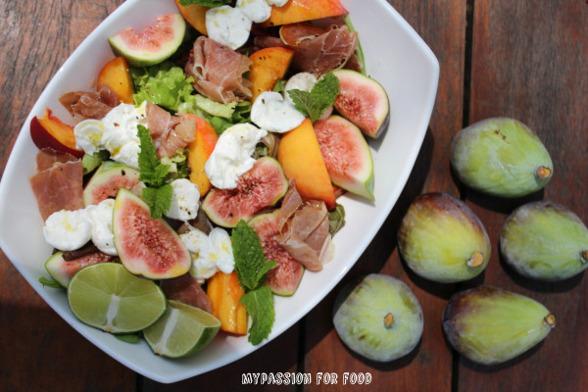Salad with Parma Ham, Buffalo Mozzarella and Figs