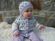 Babyjacka med blommor 50% angora