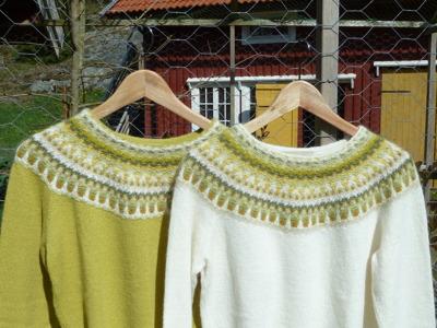 """""""Lemon"""" jumper med gul och vit bottenfärg. Foto P. Silfverberg"""