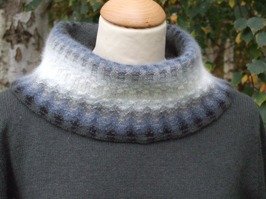 """Gray Mist"" cowl neck. Photo Solveig Gustafsson."