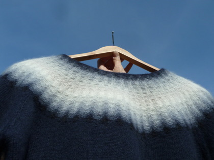 """Blå Dimman"" pullover. Photo P. Silfverberg"
