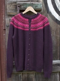 "the New Azalea"" acrdigan with aubergine main color"