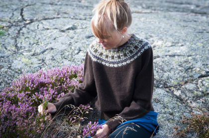 """Allvaret"" pullover, dark brown main color. Photo Karin Björk"