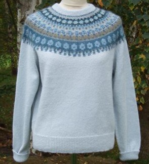 Blå Skimmer pullover cardigan Bohus Stickning - Blå Skimmer ljus blå bf jumper/kofta kit