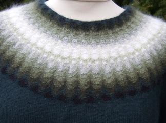 Gröna Dimman pullover cardigan Bohus Stickning - Gröna Dimman jumper/kofta kit