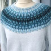 Gallret Blått pullover cardigan Bohus Stickning