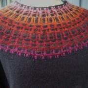 Gallret Rött pullover cardigan Bohus Stickning