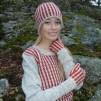 Randiga Loppan helmönstrad front Bohus Stickning - Randiga Loppan, red, english instr. pullover/card. kit gray mc