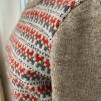 Stigbygeln 1 - The Stirrup helmönstrad front pullover cardigan Bohus Stickning - The Stirrup red/gray patterned front(s) pullover/cardigan kit english instruction, mc back brown