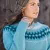 Blå Blomman pullover cardigan Bohus Stickning - The Blue Flower, turquoise mc  pullover/cardigan kit english instruction
