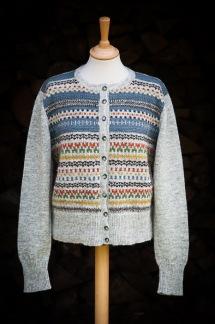 Blå Randen pullover cardigan Bohus Stickning - Blå Randen jumper/kofta kit