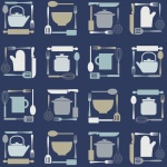 I köket blå