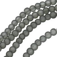 Frostade glaspärlor, grå, 4mm